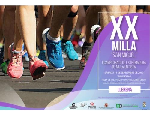La XX Milla Urbana San Miguel se celebra en Llerena el 14 de septiembre